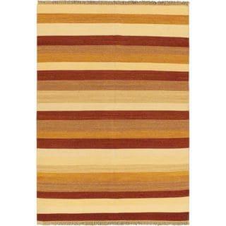 eCarpetGallery Kilim Fiesta Ivory Handwoven Wool Rug (5'7 x 7'10)
