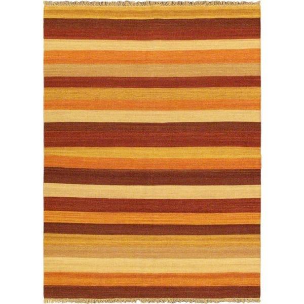 ecarpetgallery Fiesta Ivory Hand-woven Wool Kilim - 5'7 x 7'10