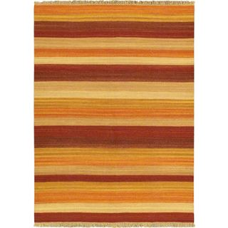 ecarpetgallery Fiesta Ivory Wool Hand-woven Kilim (5'7 x 7'10)