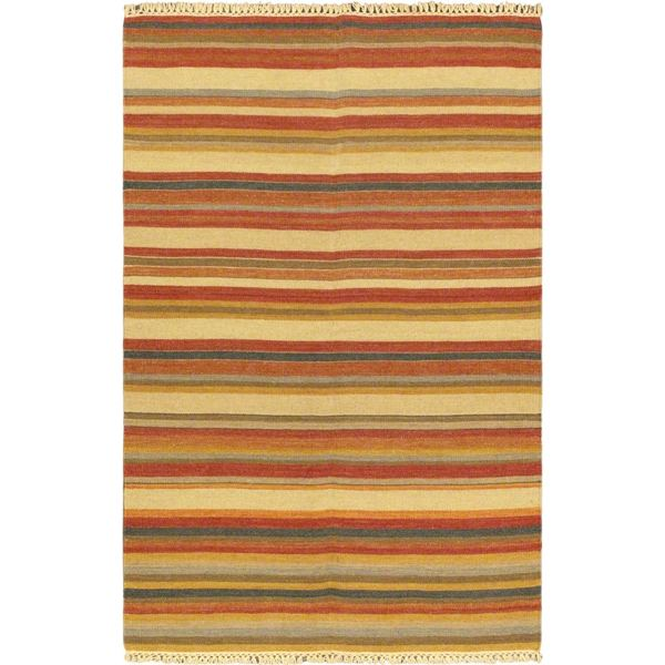 ecarpetgallery Kaleidoscope Orange Wool Handwoven Kilim - 4'7 x 7'3