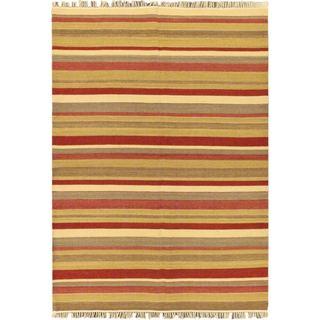 eCarpetGallery Multicolored Wool Handwoven Fiesta Kilim (5'9 x 8'0)