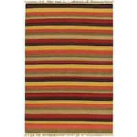 ecarpetgallery Fiesta Red Hand-woven Wool Kilim - 4'7x6'7