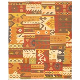 eCarpetGallery Handwoven Hereke Orange/Red Wool Kilim (8' x 10')