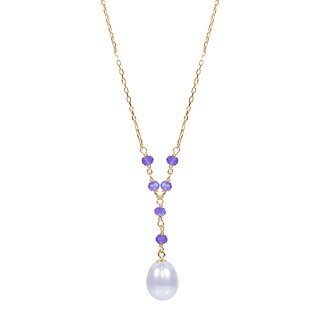 17-inch Yellow Gold Freshwater Pearl and Amethyst Necklace