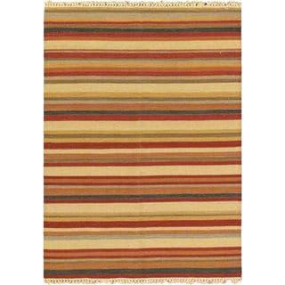 ecarpetgallery Kaleidoscope Ivory Hand-woven Wool Kilim (4'10 x 6'6)