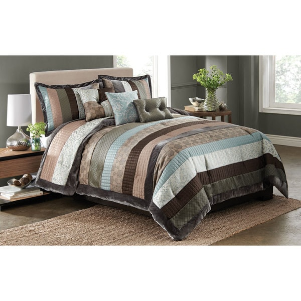 Kady Steel Striped 6 Piece Comforter Set