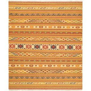 ecarpetgallery Orange Wool Handwoven Izmir Kilim (8'2 x 9'10)