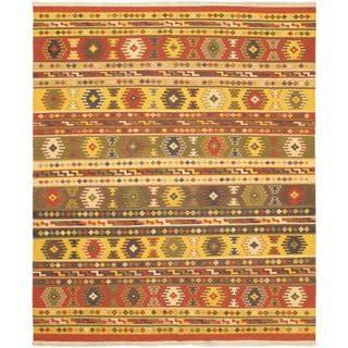 eCarpetGallery Red/Yellow Wool Hand-woven Ankara Kilim (8'2 x 9'10)
