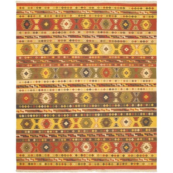 eCarpetGallery Red/Yellow Wool Hand-woven Ankara Kilim (8'2 x 9'10)