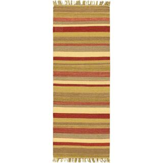eCarpetGallery Fiesta Brown Wool Hand-woven Kilim (2'5 x 6'6)