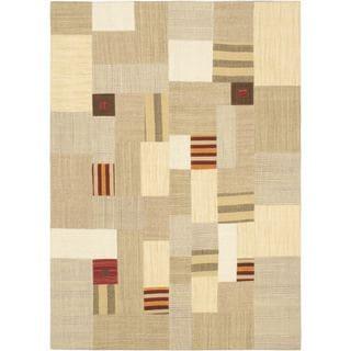 ecarpetgallery Mosaico Ivory Wool Hand-woven Kilim (5'6 x 7'7)