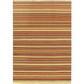 eCarpetGallery Kaleidoscope Red Wool Hand-woven Kilim (6'7 x 9'2)