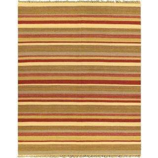 eCarpetGallery Hand-woven Fiesta Red Wool Kilim (8'x9'10)