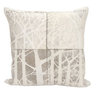 Mina Victory Natural Leather and Hide Laser Cut Woods Grey Throw Pillow by Nourison (20-Inch X 20-Inch)
