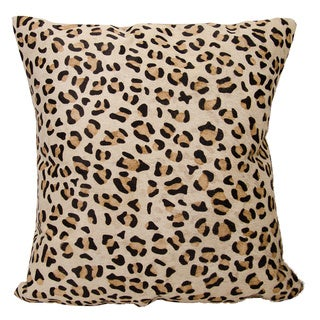 Mina Victory Natural Leather and Hide Printed Leopard Throw Pillow by Nourison (20 x 20-inch)