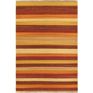 eCarpetGallery Fiesta Orange Wool Hand-woven Kilim (5'7 x 7'10)