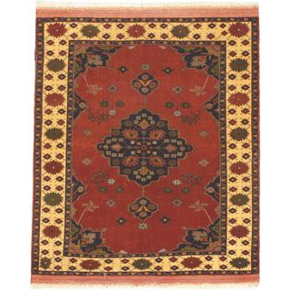 ecarpetgallery Copper/Beige/Cream/Green/Navy Wool Hand-knotted Afghan Mouri Rug (4'4 x 5'1)