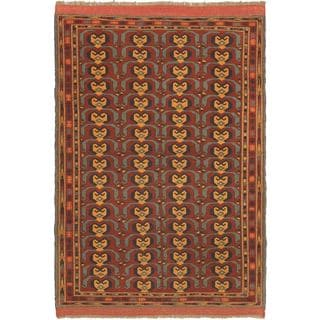 ecarpetgallery Hand-knotted Afghan Mouri Brown Wool Rug (4' x 5'8)