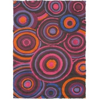 eCarpetGallery Handmade Eternity Bold Pink Wool Rug (5'8 x 7'9)