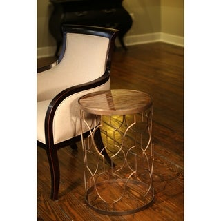 Retro Stone Court Accent Table with Glass Top