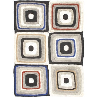 Ecarpetgallery Eternity Bold Black/Ivory Wool Handmade Rug (5'5 x 7'9)
