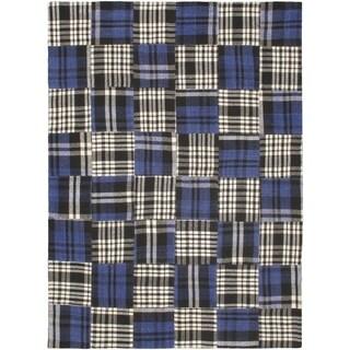 ecarpetgallery Blue Wool Handmade Scottish Patch Dhurrie (5'7 x 7'8)
