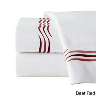 Pointehaven Wave Cotton 300-thread-count Embroidered Pillowcase Set