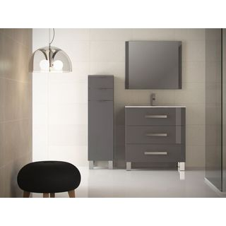 Eviva Libra Grey 31.5-inch Modern Bathroom Wall-mount Vanity with White Integrated Porcelain Sink