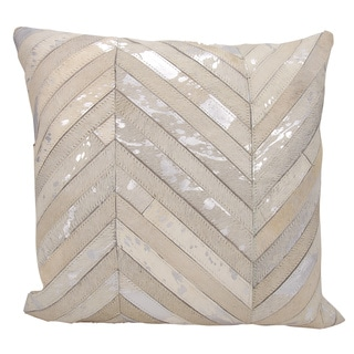 Mina Victory Natural Leather and Hide Thin Metallic Chevron White/ Silver Throw Pillow by Nourison (20 x 20-inch)