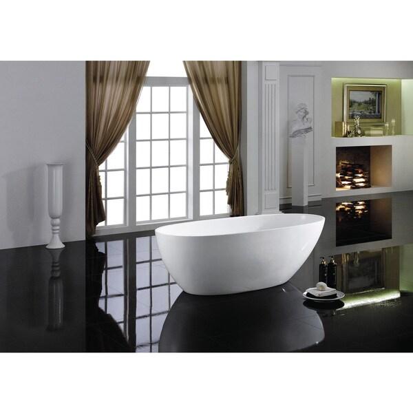Shop Eviva Sarah White Acrylic 60-inch Freestanding Bathtub - Free ...