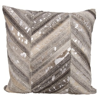 Mina Victory Natural Leather and Hide Thin Metallic Chevron Grey/ Silver Throw Pillow by Nourison (20 x 20-inch)