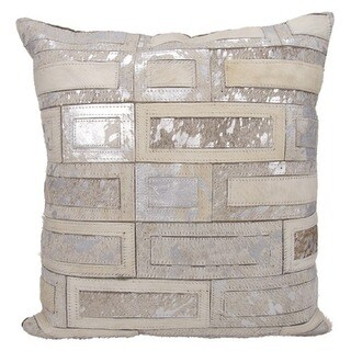 Mina Victory Natural Leather and Hide Metallic Bricks White/ Silver Throw Pillow by Nourison (20 x 20-inch)