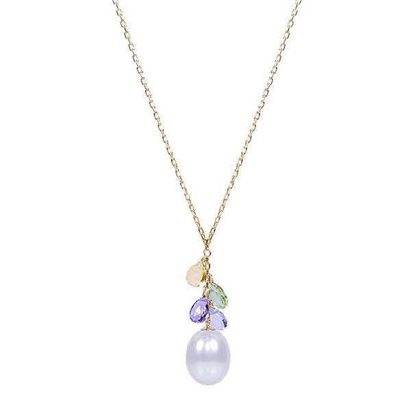 8d89d69e4ee618 14k Yellow Gold White Freshwater Pearl Multicolor Gemstone 17-inch Drop  Necklace
