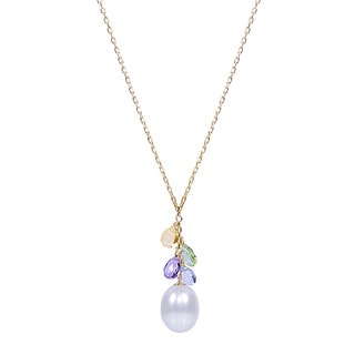 14k Yellow Gold White Freshwater Pearl Multicolor Gemstone 17-inch Drop Necklace