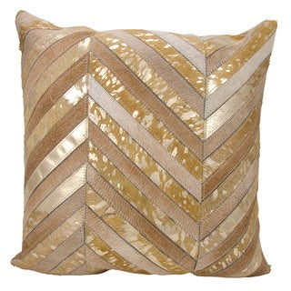 Mina Victory Natural Leather and Hide Thin Metallic Chevron Beige/ Gold Throw Pillow by Nourison (20 x 20-inch)
