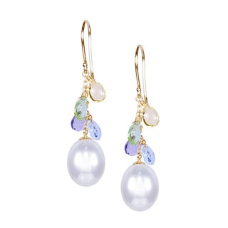 14k Yellow Gold White Freshwater Pearl and Multi Gemstone Drop Hook Earrings