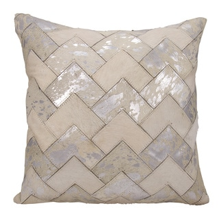 Mina Victory Natural Leather and Hide Metallic Arrow Chevron White/ Silver Throw Pillow by Nourison (20 x 20-inch)