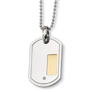 Versil 18-carat Gold Plate Stainless Steel with .01-carat Diamond 24-inch Dog Tag Necklace