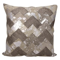 Mina Victory Natural Leather and Hide Metallic Arrow Chevron Grey/ Silver Throw Pillow by Nourison (20-Inch X 20-Inch)