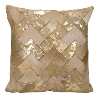 Mina Victory Natural Leather and Hide Metallic Arrow Chevron Beige/ Gold Throw Pillow by Nourison (20 x 20-inch)