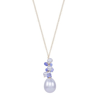 14k Yellow Gold Freshwater Pearl Tanzanite Sky Blue Topaz 17-inch Necklace