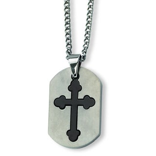 Versil Chisel Men's Black-plated Stainless Steel 22-inch Cross Necklace