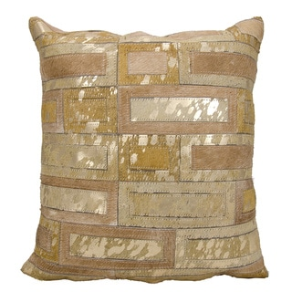 Mina Victory Natural Leather and Hide Metallic Bricks Beige/ Gold Throw Pillow by Nourison (20 x 20-inch)