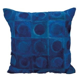 Mina Victory Natural Leather and Hide Circles In Squares Navy Throw Pillow by Nourison (20 x 20-inch)