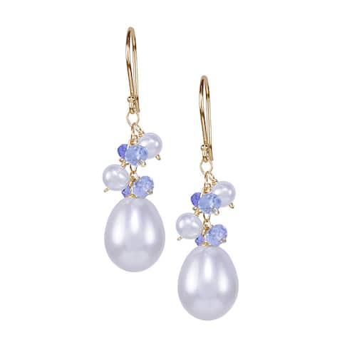 14K Freshwater Pearl and Tanzanite Sky Blue Topaz Hook Earring