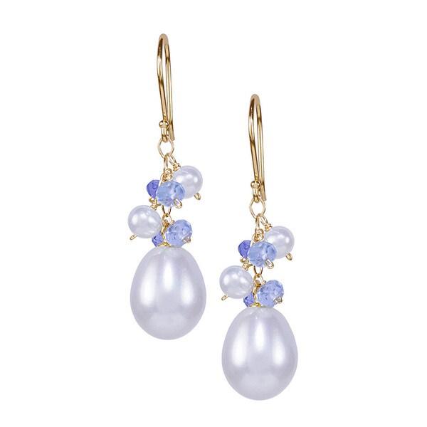 Pearl Tanzanite: Shop 14K Freshwater Pearl And Tanzanite Sky Blue Topaz