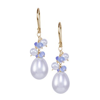 14K Freshwater Pearl and Tanzanite Sky Blue Topaz Hook Earring
