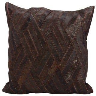 Mina Victory Natural Leather and Hide Basket Weave Brown Throw Pillow by Nourison (20 x 20-inch)
