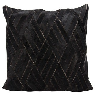 Mina Victory Natural Leather and Hide Basket Weave Black Throw Pillow by Nourison (20 x 20-inch)