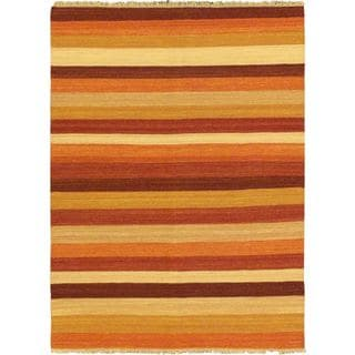 eCarpetGallery Beige/Brown/Orange Cotton and Wool Reversible Flatweave Area Rug (5'7 x 7'10)